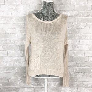 ANTHROPOLOGIE SPARROW Linen Knit Sweater Ribbed